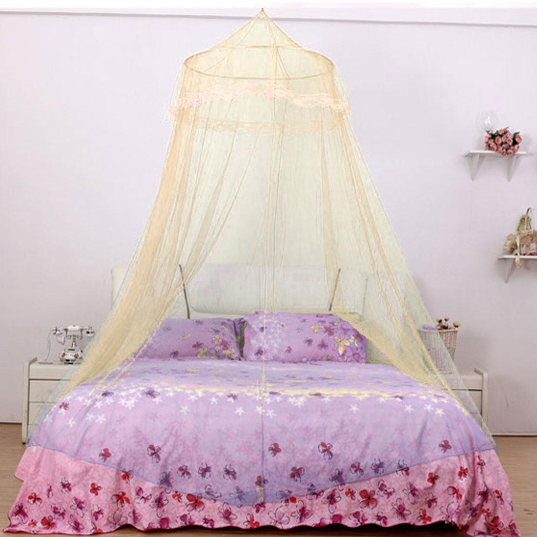 Home Bedroom Round Top Hanging Kit Mesh Bedding Mosquito Net Yellow 210 x 60cm