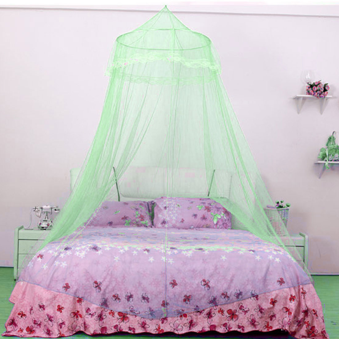 Home Bedroom Round Top Hanging Kit Mesh Bedding Mosquito Net Canopy Green 210 x 60cm