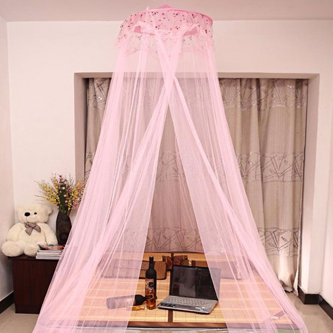 Home Bedroom Lacework Decor Round Top Hanging Kit Mesh Bedding Mosquito Net Canopy Pink 260 x 60cm