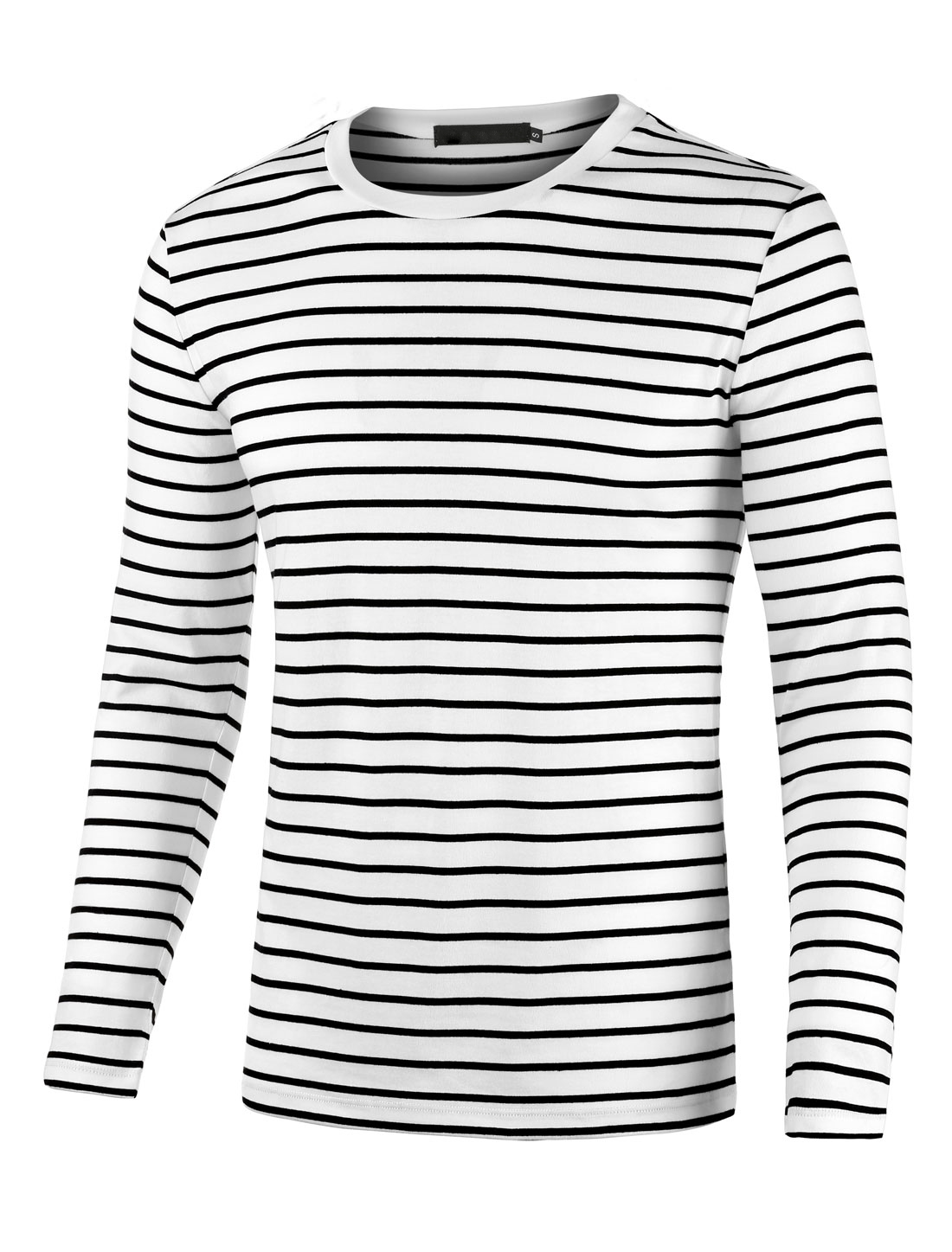 Men Crew Neck Long Sleeves Striped T-shirt Black White S