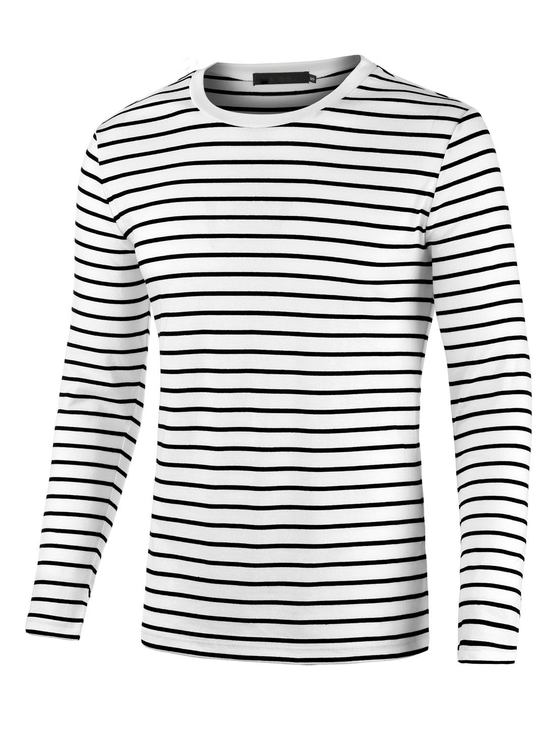 Men Crew Neck Long Sleeve Striped Tee T Shirt Black XL XL (US 46)