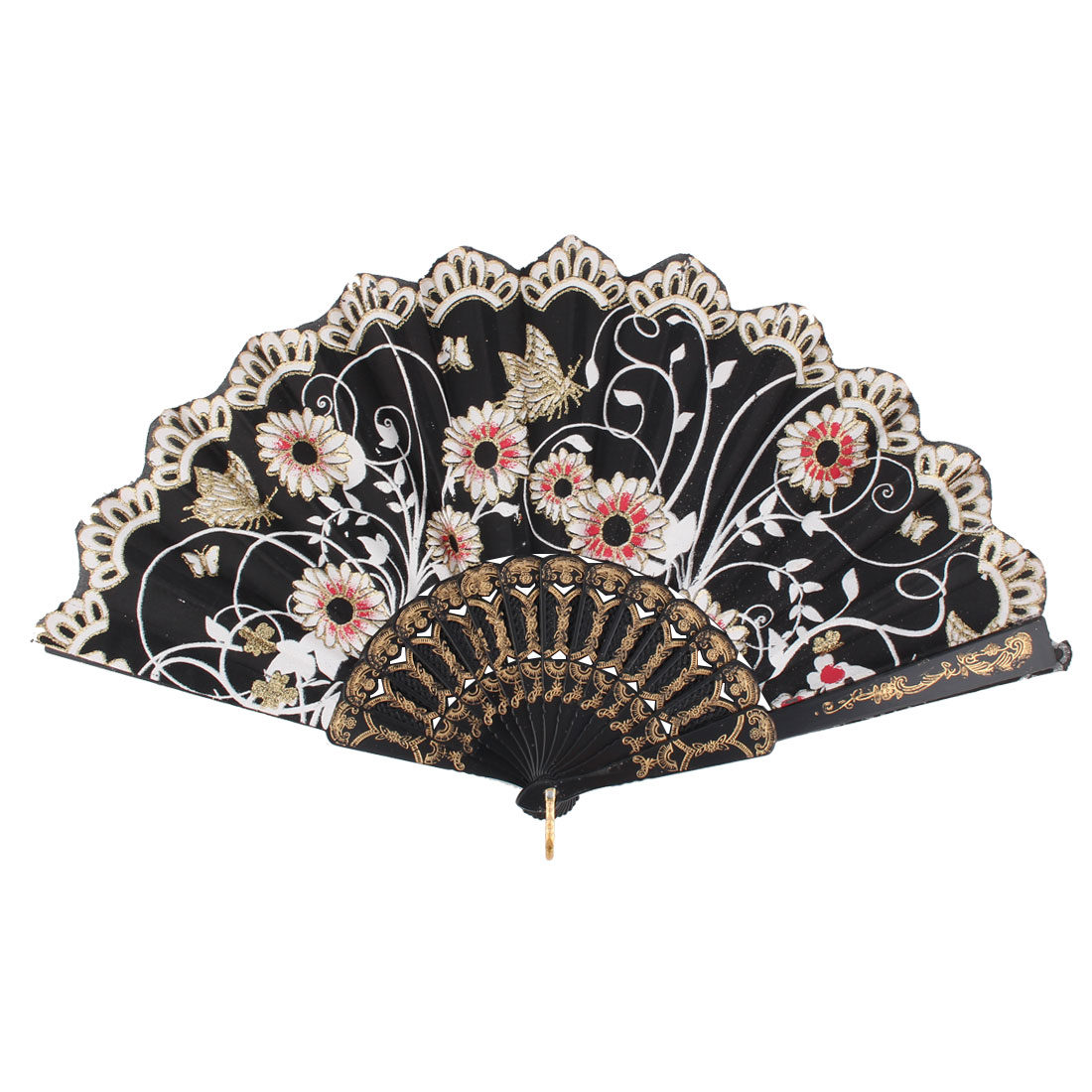 Lady Household Outdoor Plastic Rib Flower Pattern Chinese Style Foldable Hand Fan