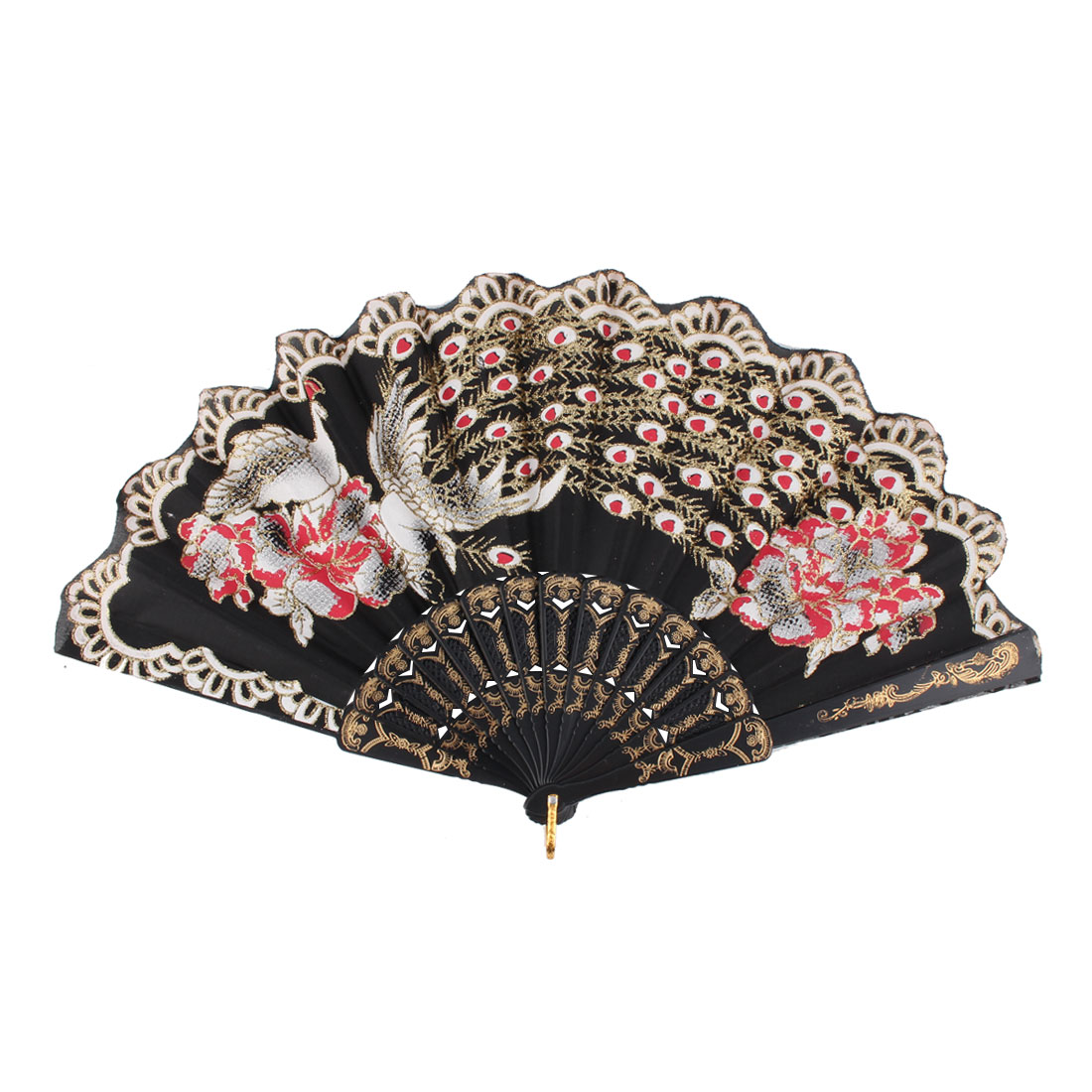 Lady Household Outdoor Plastic Rib Chinese Style Hanging Folding Held Hand Fan