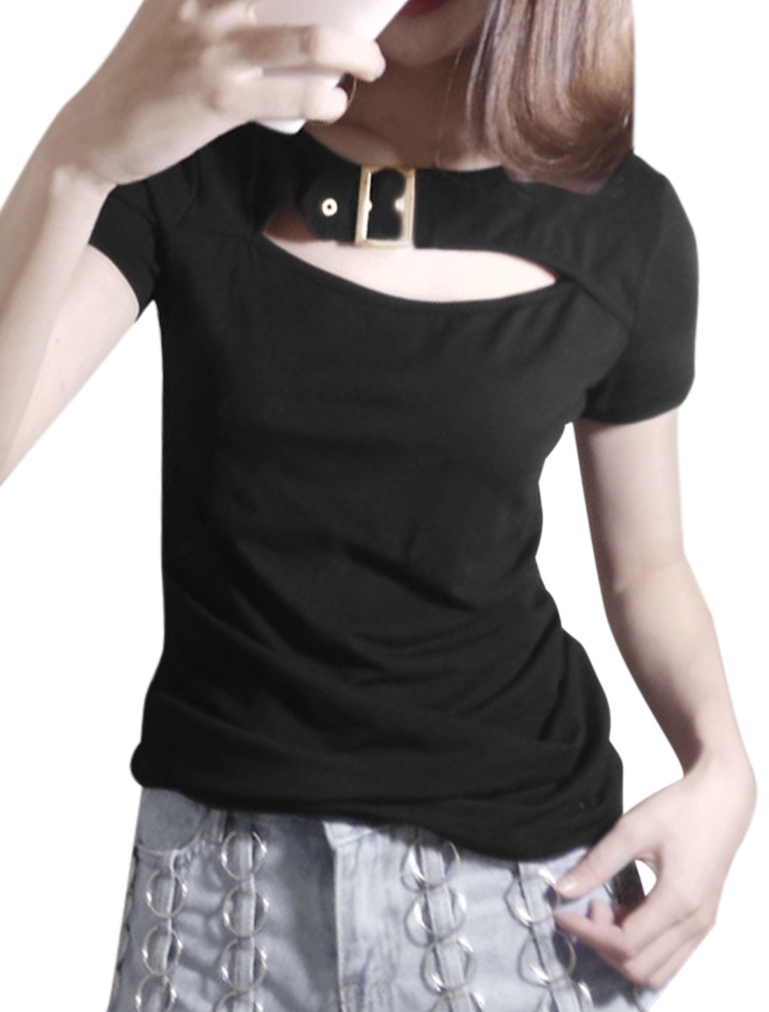 Women Cut Out Front Short Sleeves Slim Fit Crop Top Black XS