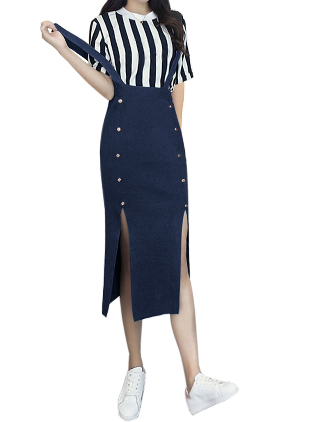 Women Button Decor Double Slits Front Below Knee Knit Suspender Skirt Blue XS