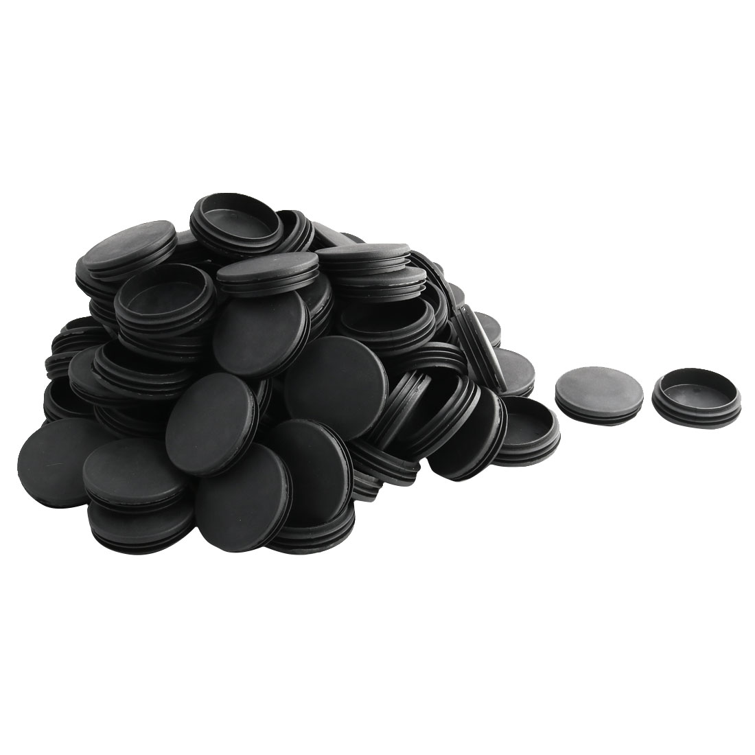 Household Office Plastic Round Furniture Legs Tube Insert Black 74mm Dia 100 Pcs