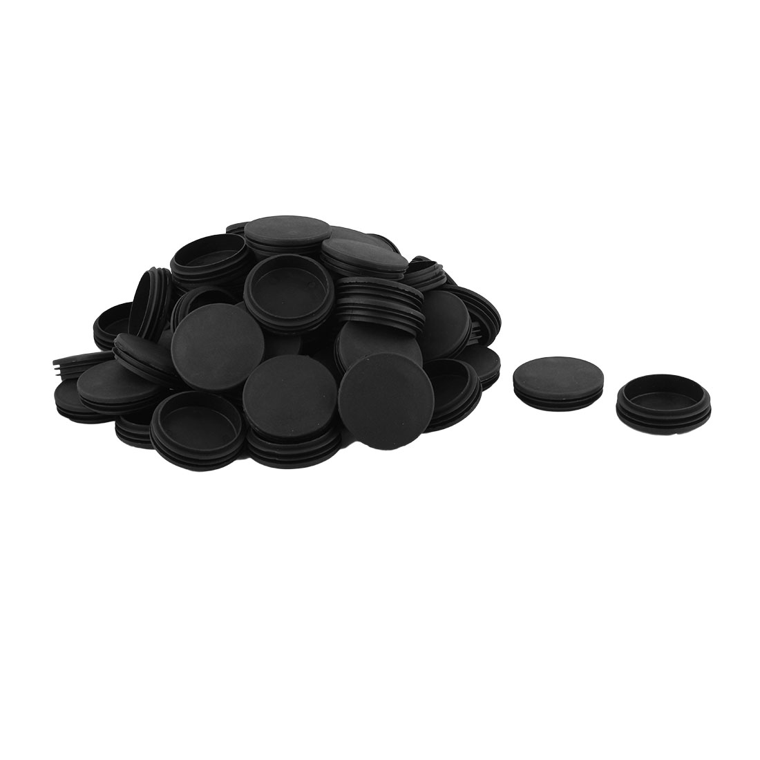 Home Office Plastic Round Shaped Table Chair Leg Tube Insert Black 74mm Dia 60pcs