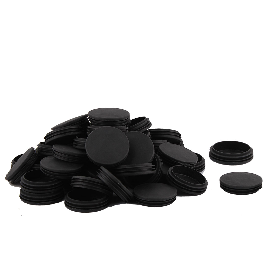 Home Plastic Round Table Cabinet Legs Protecter Tube Insert Black Dia 74mm 50 Pcs