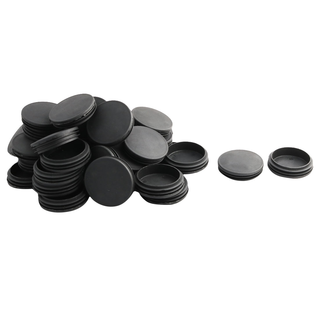 Household Office Plastic Round Furniture Legs Tube Insert Black 74mm Dia 40 Pcs