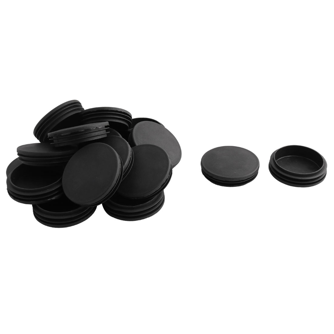Household Office Plastic Round Furniture Legs Tube Insert Black 74mm Dia 18 Pcs