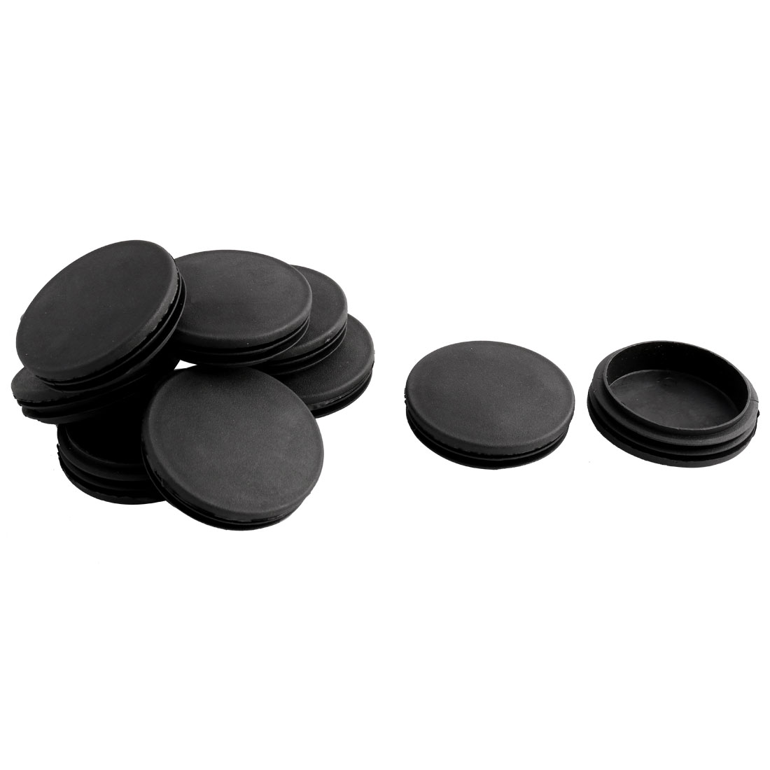 Household Office Plastic Round Furniture Legs Tube Insert Black 74mm Dia 10 Pcs