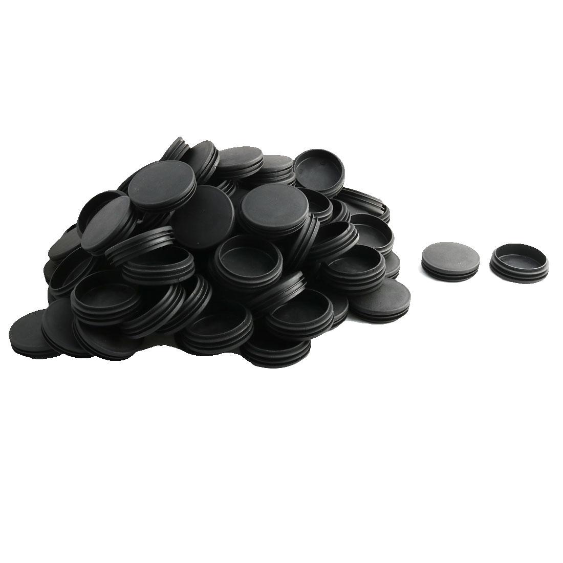 Household Office Plastic Round Furniture Legs Tube Insert Black Dia 70mm 100 Pcs