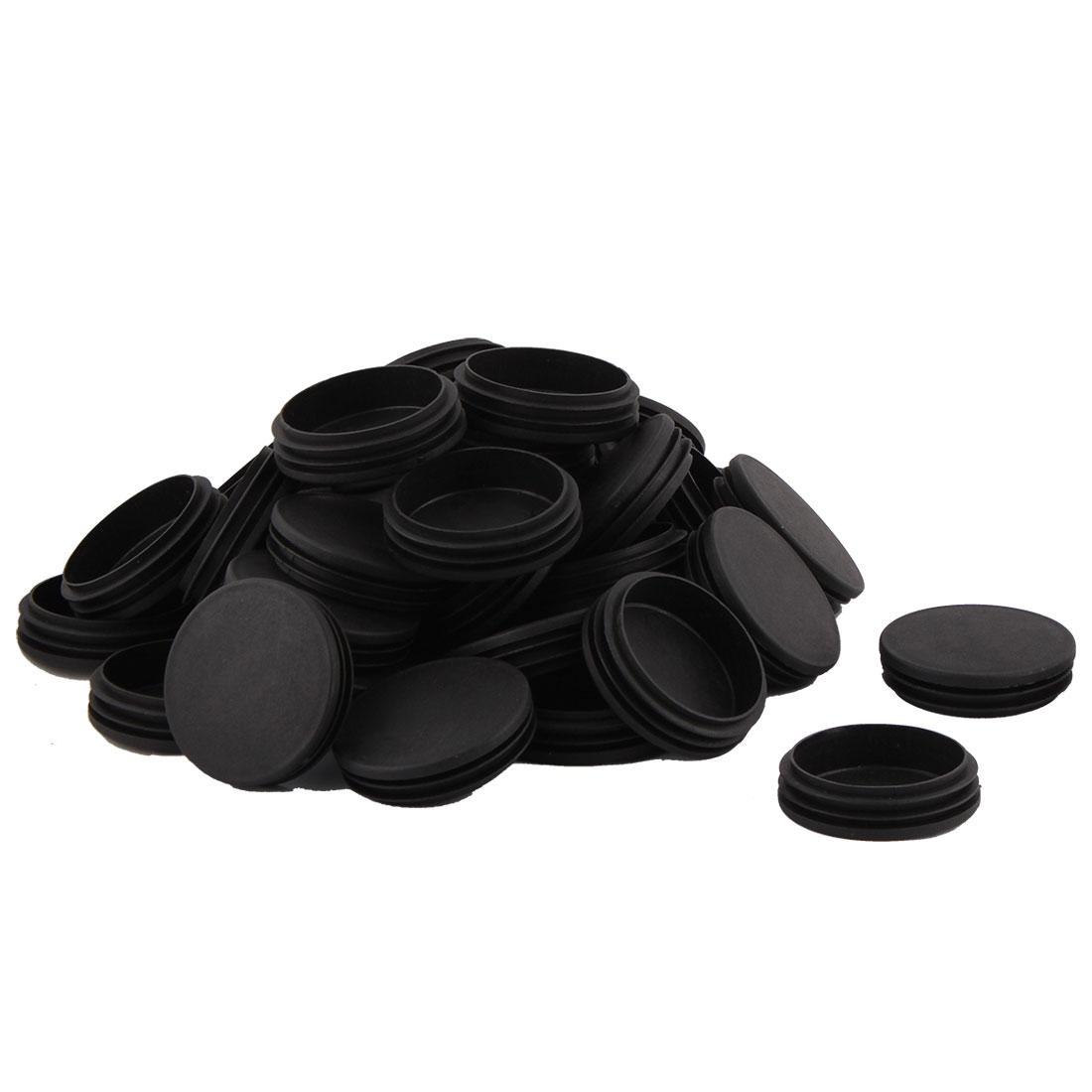 Office School Plastic Round Furniture Legs Protector Tube Insert Black Dia 70mm 40 Pcs