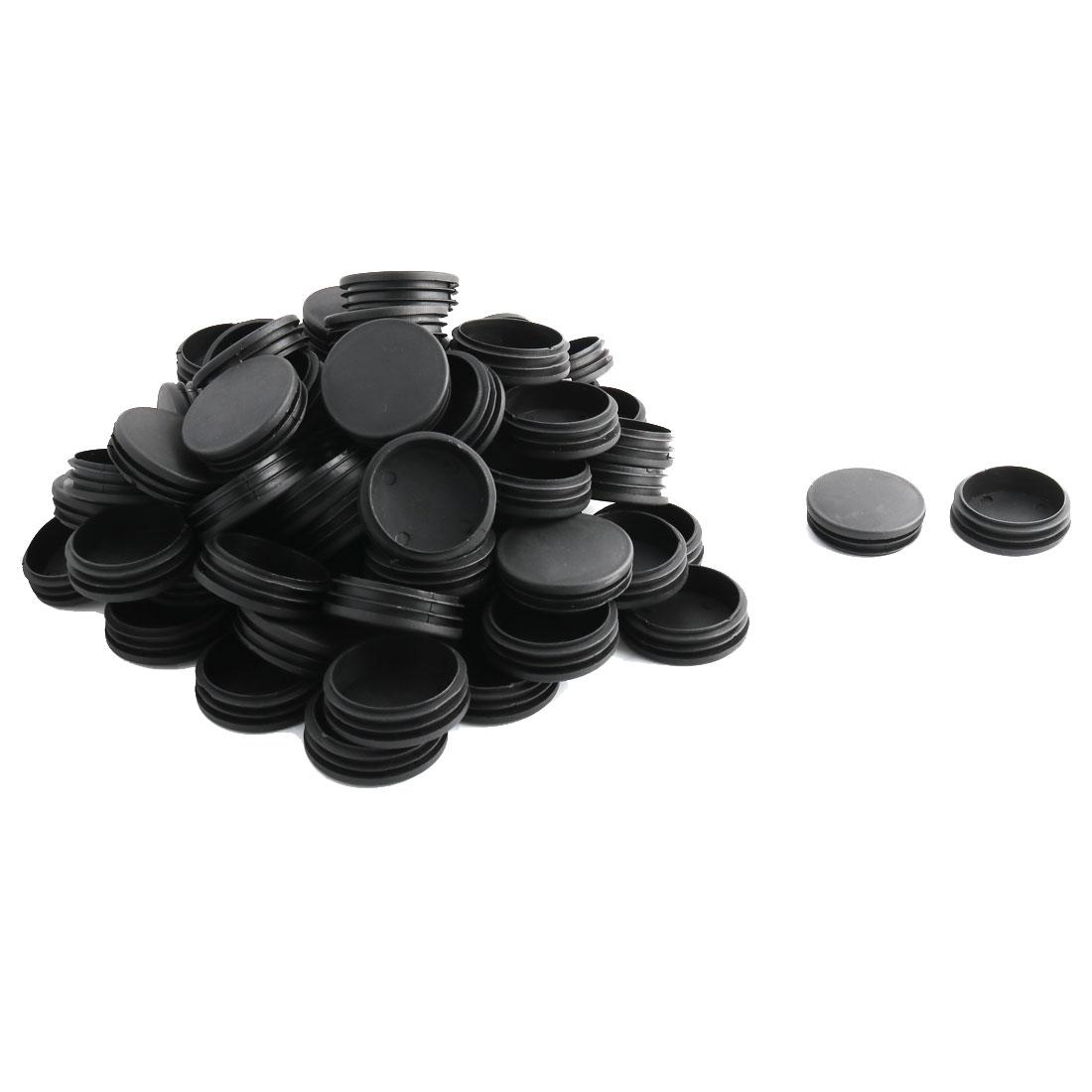Household Office Plastic Round Furniture Legs Tube Insert Black 60mm Dia 80 Pcs