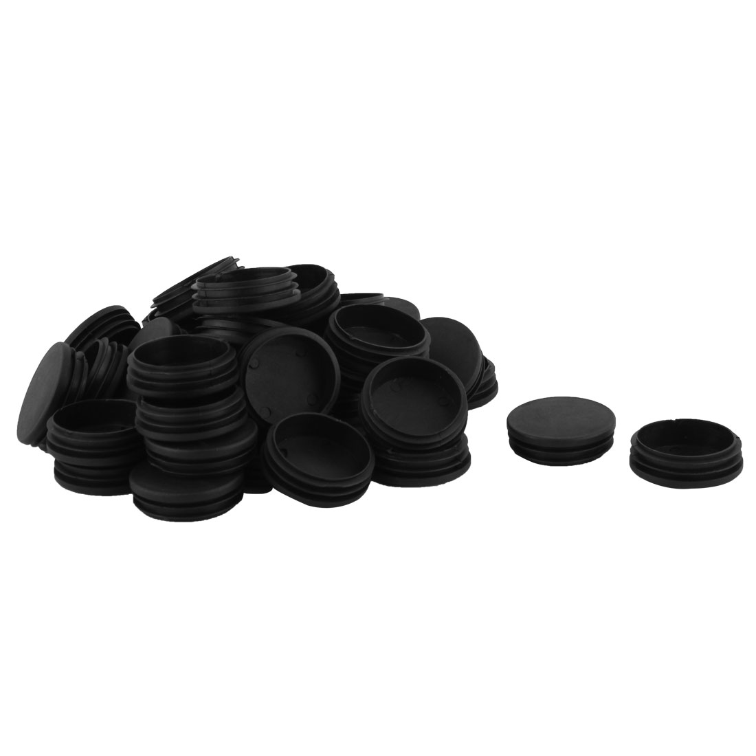 Home Office Plastic Round Shaped Table Desk Chair Legs Tube Insert Black 40 Pcs