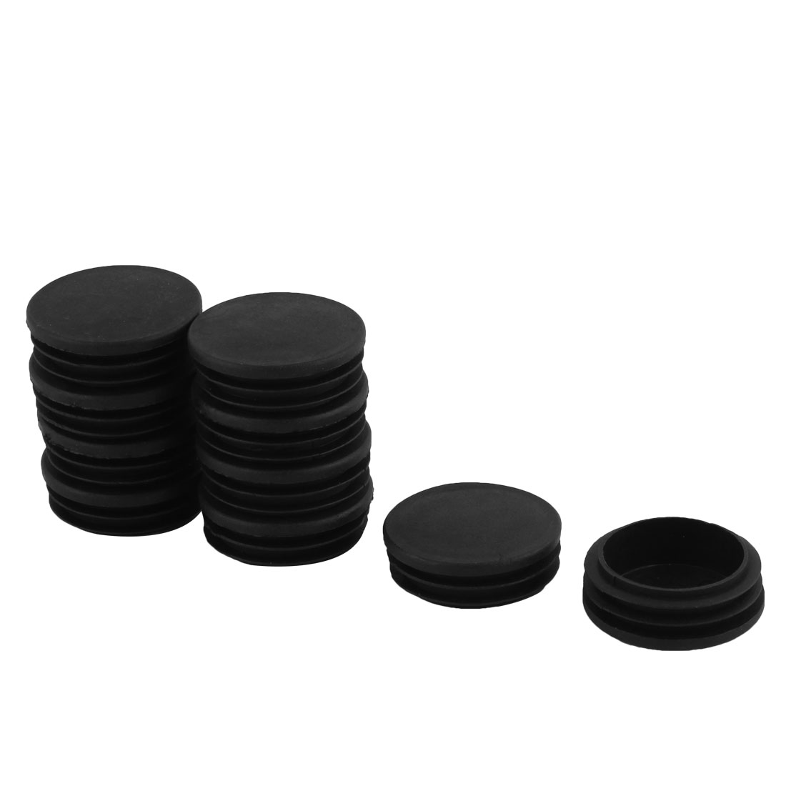 Home Office Plastic Round Shaped Table Chair Leg Tube Insert Black 47mm Dia 10pcs