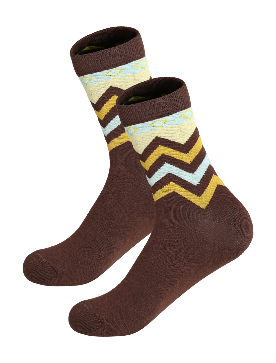 Men 2 pairs Zigzag Argyle Contrast Color Crew Sock Brown 10-12