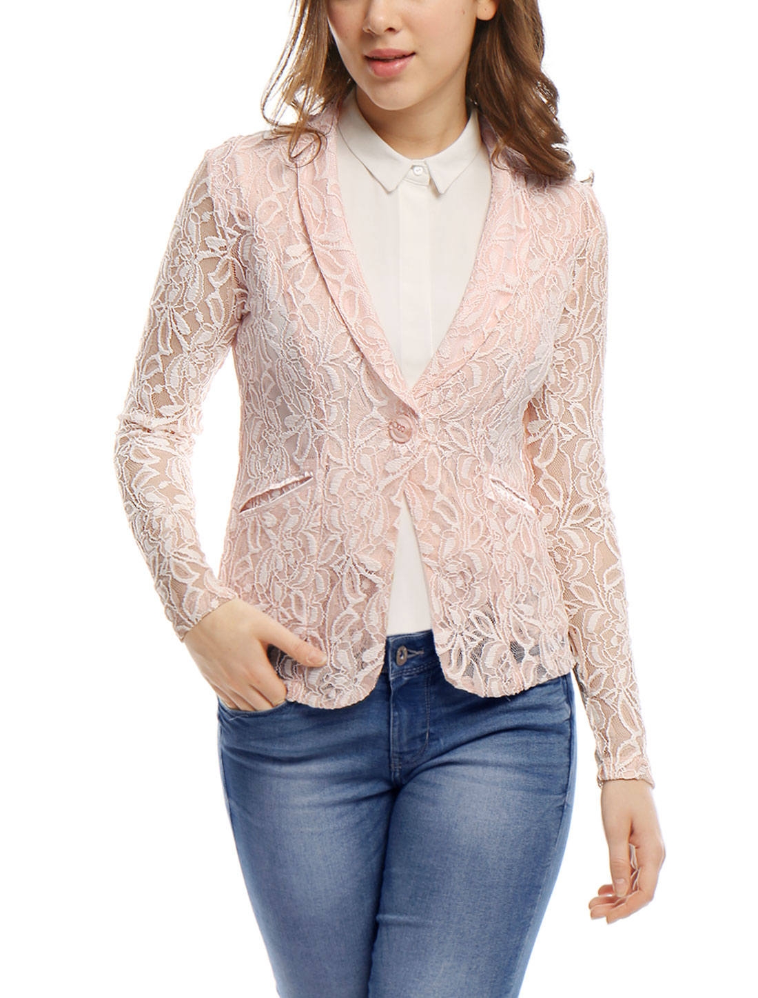 Women Shawl Collar See Through Floral Lace Blazer Jacket Pink S