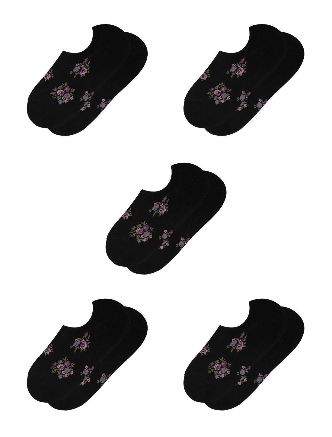 Women Floral Print Low Cut Elastic Cuffs Short Socks 5 Pairs Black 7-9