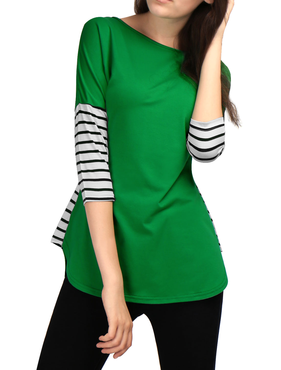 Women 3/4 Sleeves Striped Panel Dolphin Hem Tunic Top Green S