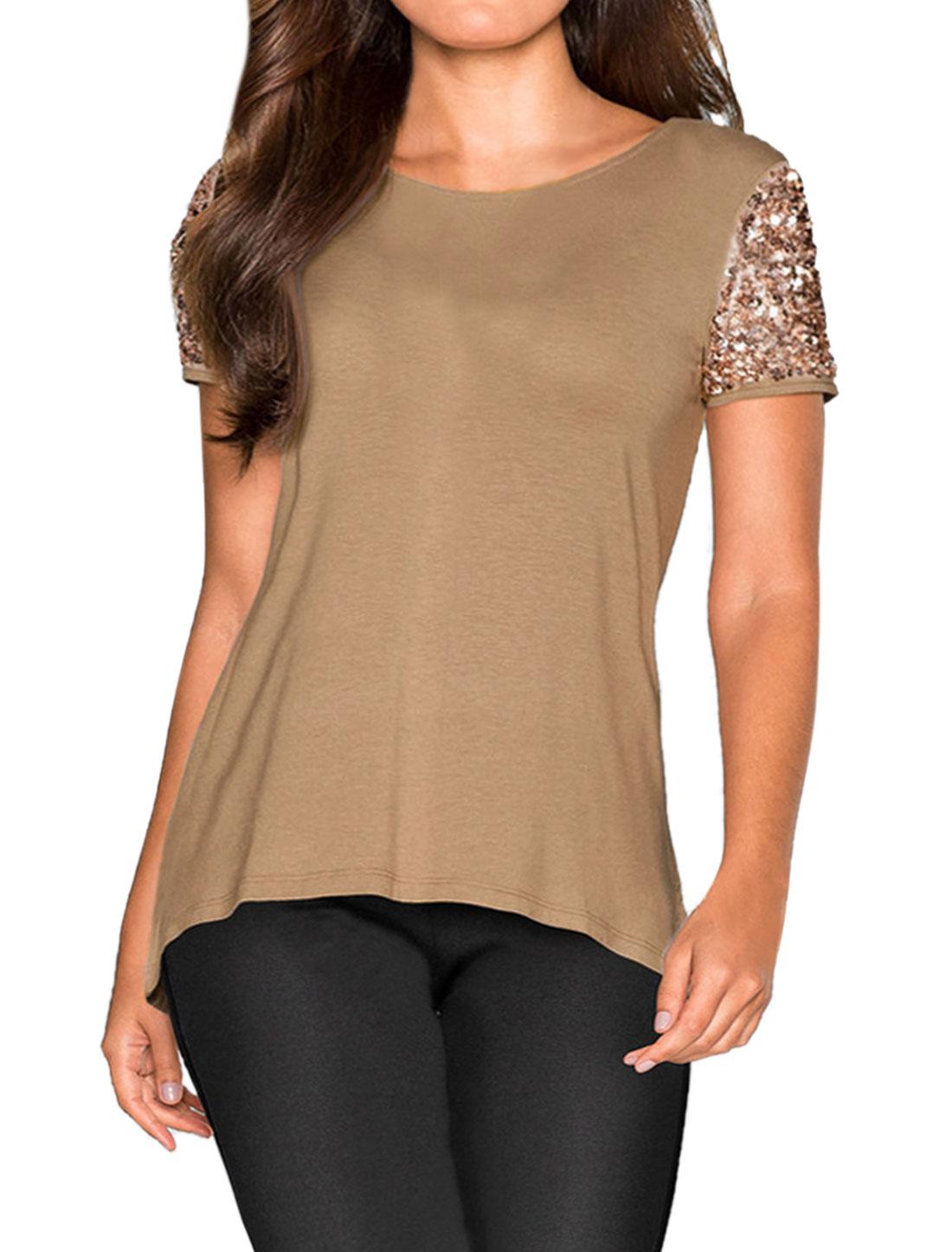Women Sequin Embellished Short Sleeves High Low Hem Tee Shirt Brown XS