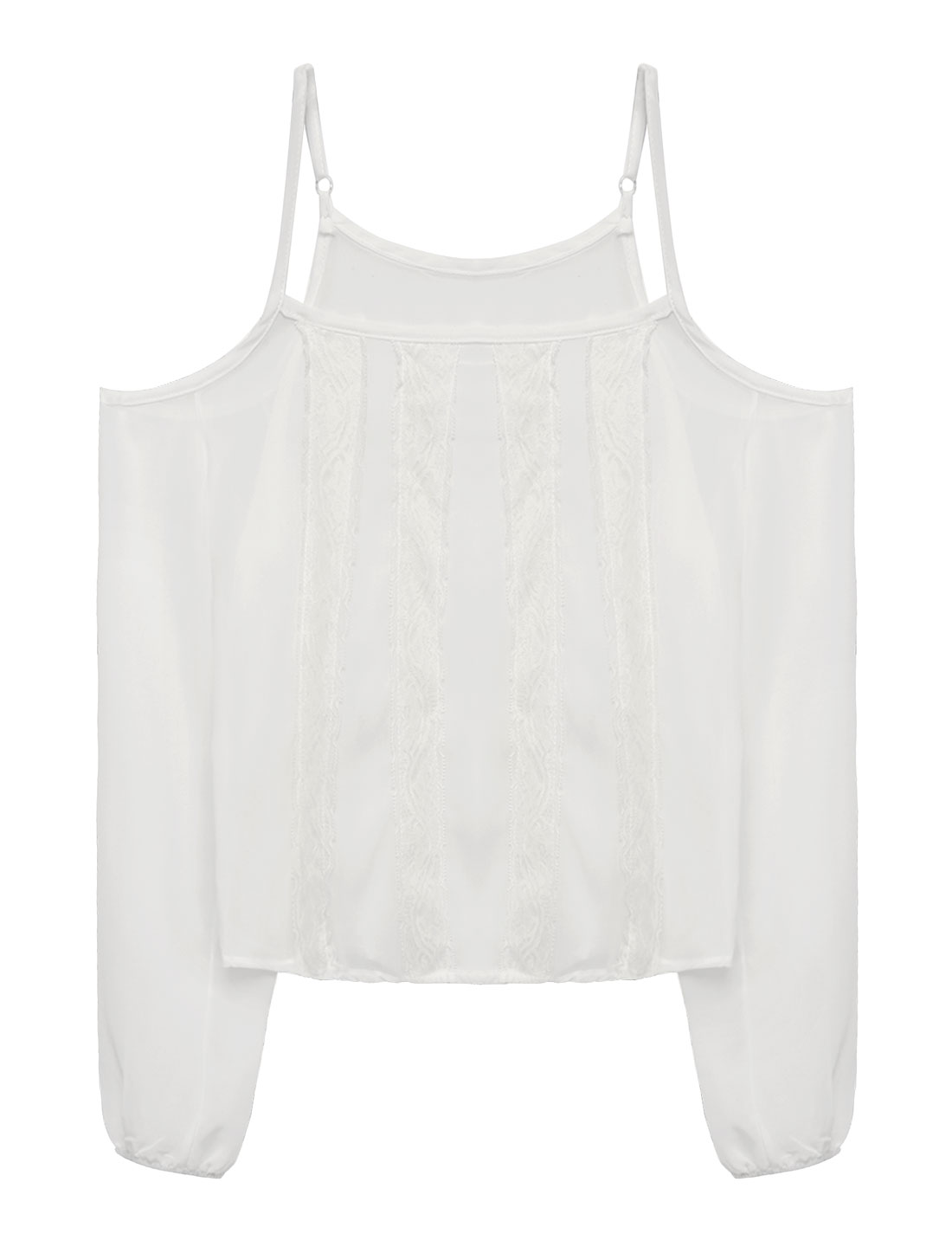 Women Lace Panled Chiffon Sheer Open Shoulder Top White XS
