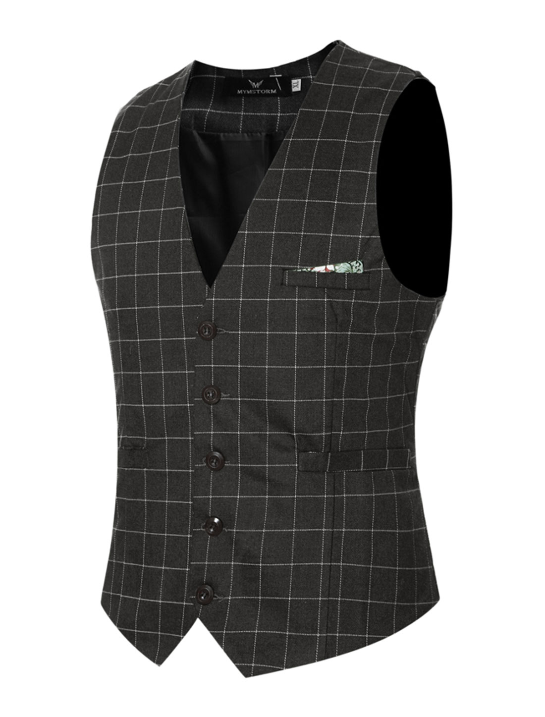 Men Adjustable Self Tie Slim Fit V Neck Button Up Checked Waistcoat Gray M