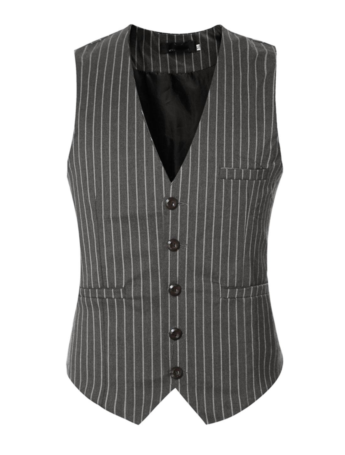 Men V Neck Stripes Adjustable Buckle Back Slim Fit Vest Gray M