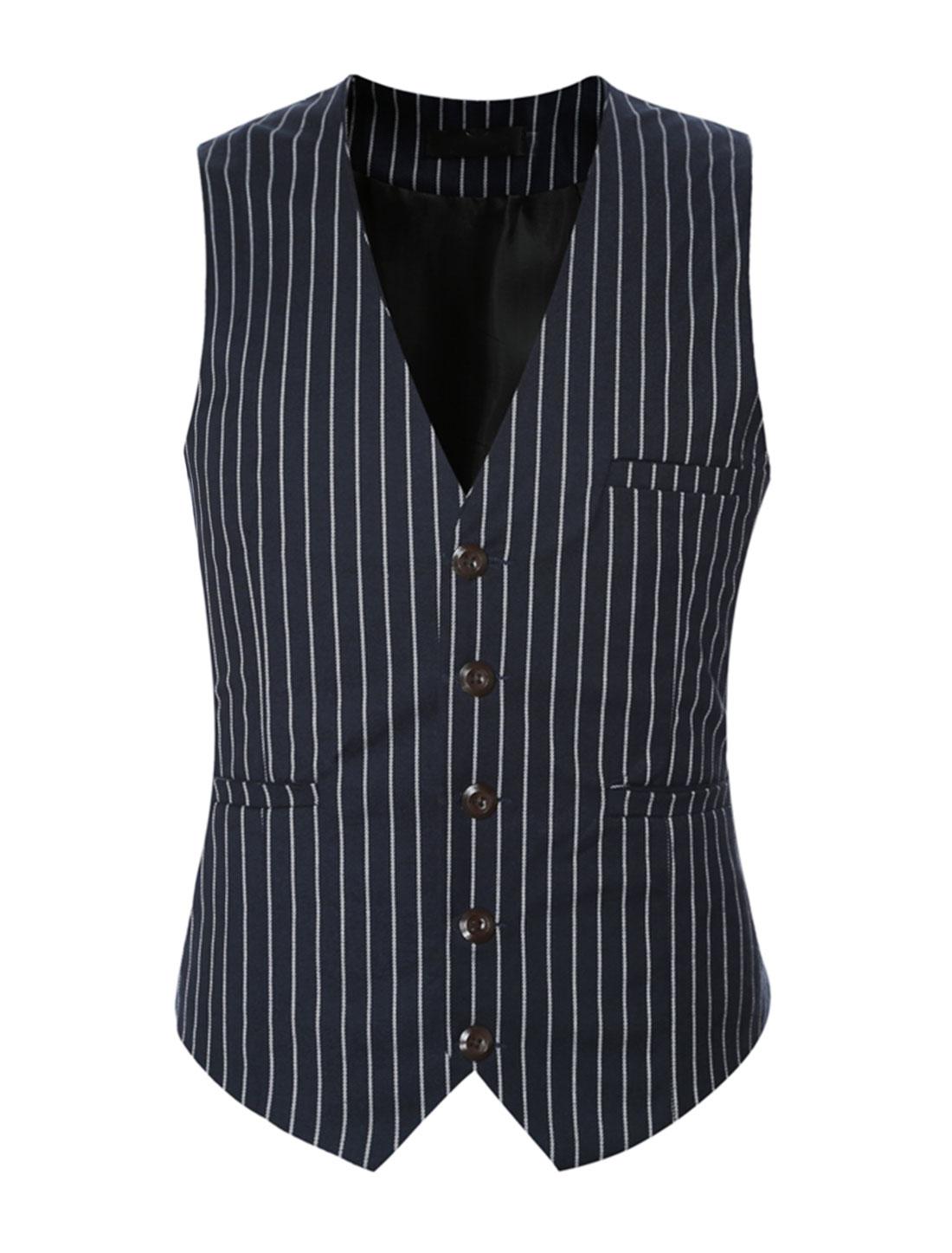 Men V Neck Stripes Adjustable Buckle Back Slim Fit Vest Blue M