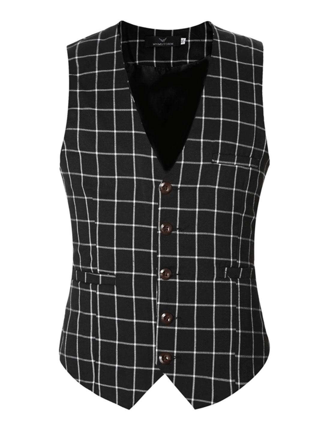 Men V Neck Checks Adjustable Buckle Back Slim Fit Vest Black S
