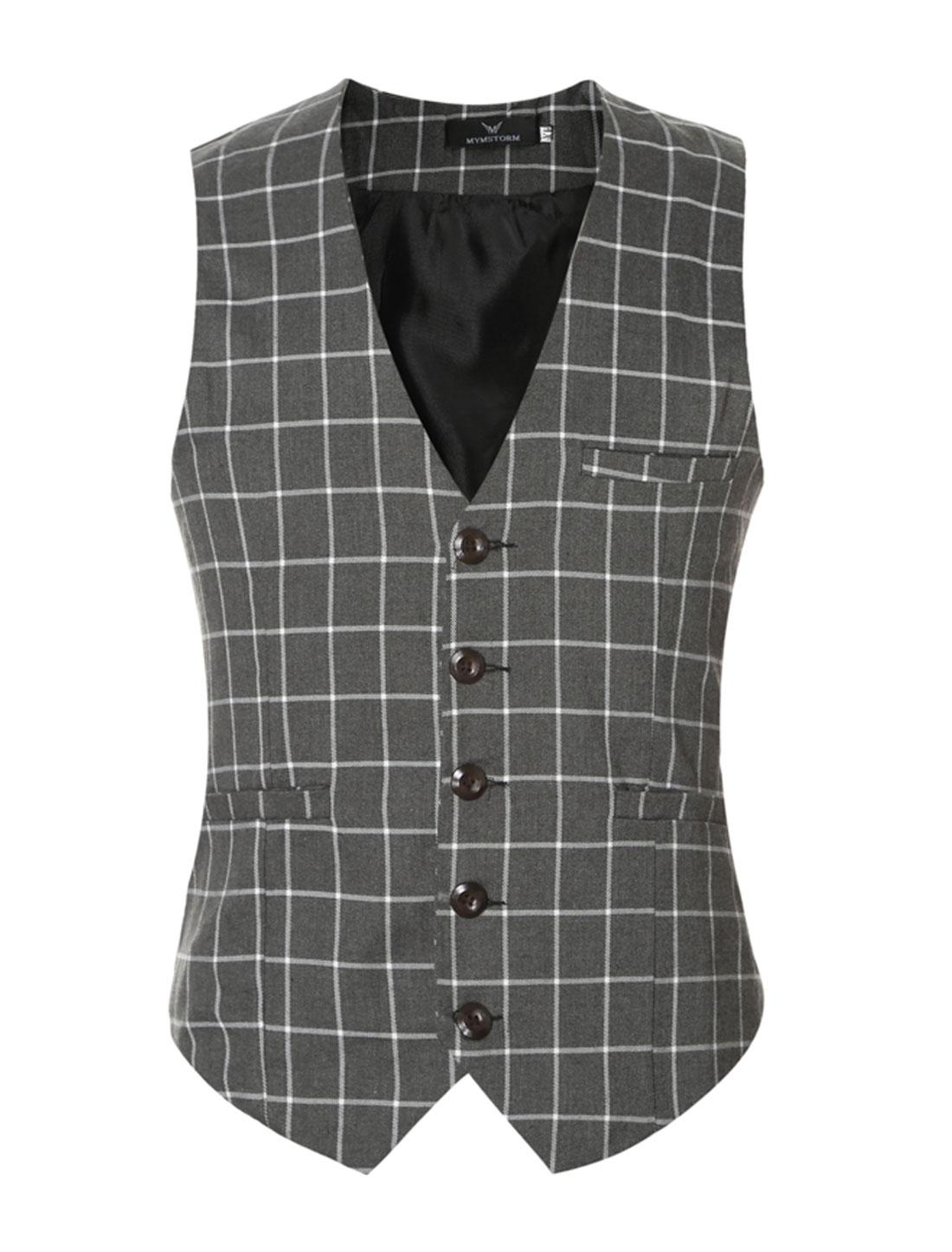 Men V Neck Checks Adjustable Buckle Back Slim Fit Vest Gray M