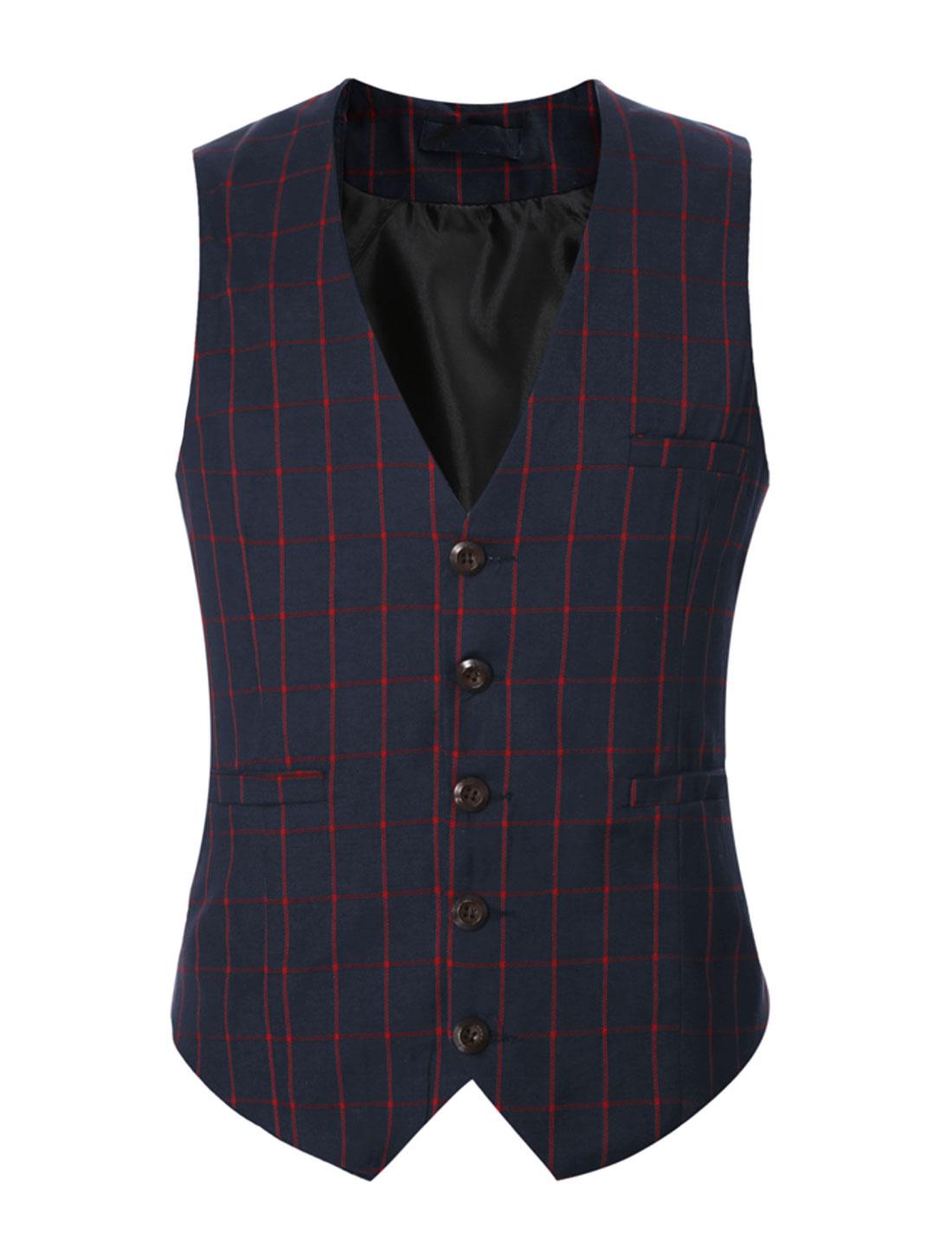 Men V Neck Checks Adjustable Buckle Back Slim Fit Vest Dark Blue M
