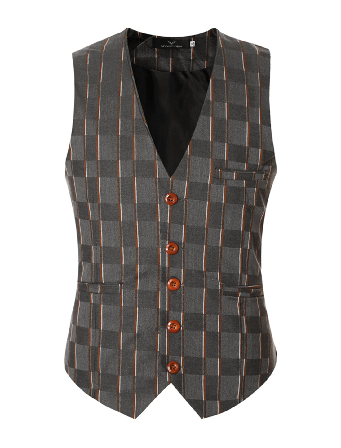 Men V Neck Stripes Checks Adjustable Buckle Back Slim Fit Vest Brown M