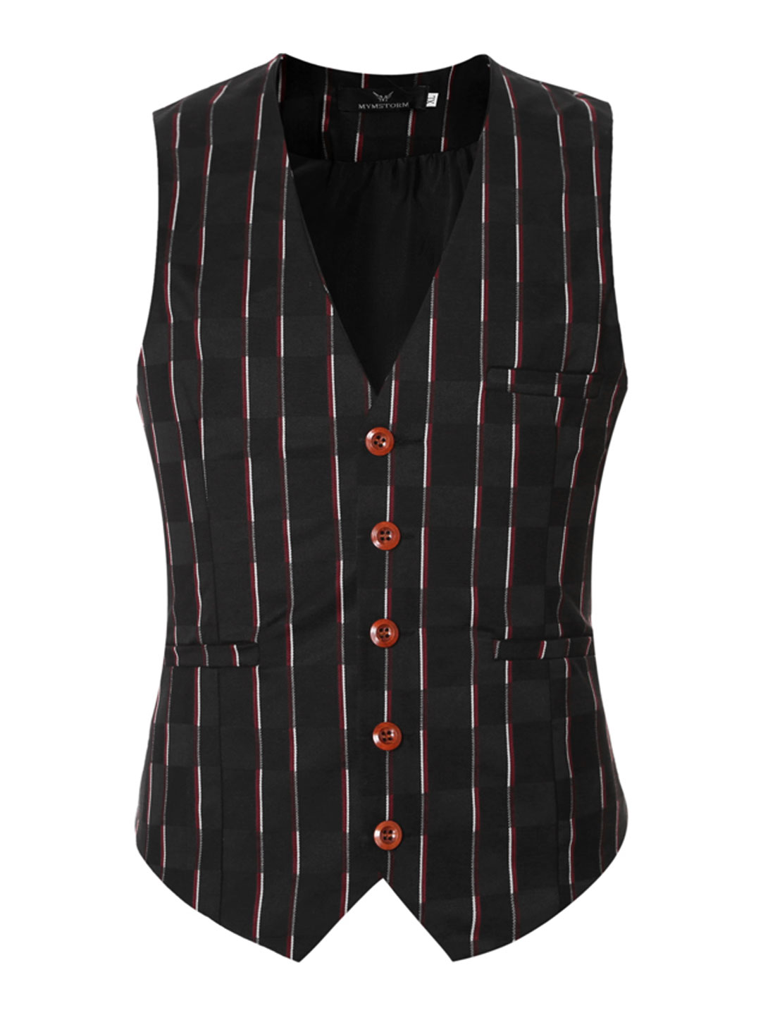 Men V Neck Stripes Checks Adjustable Buckle Back Slim Fit Vest Red M