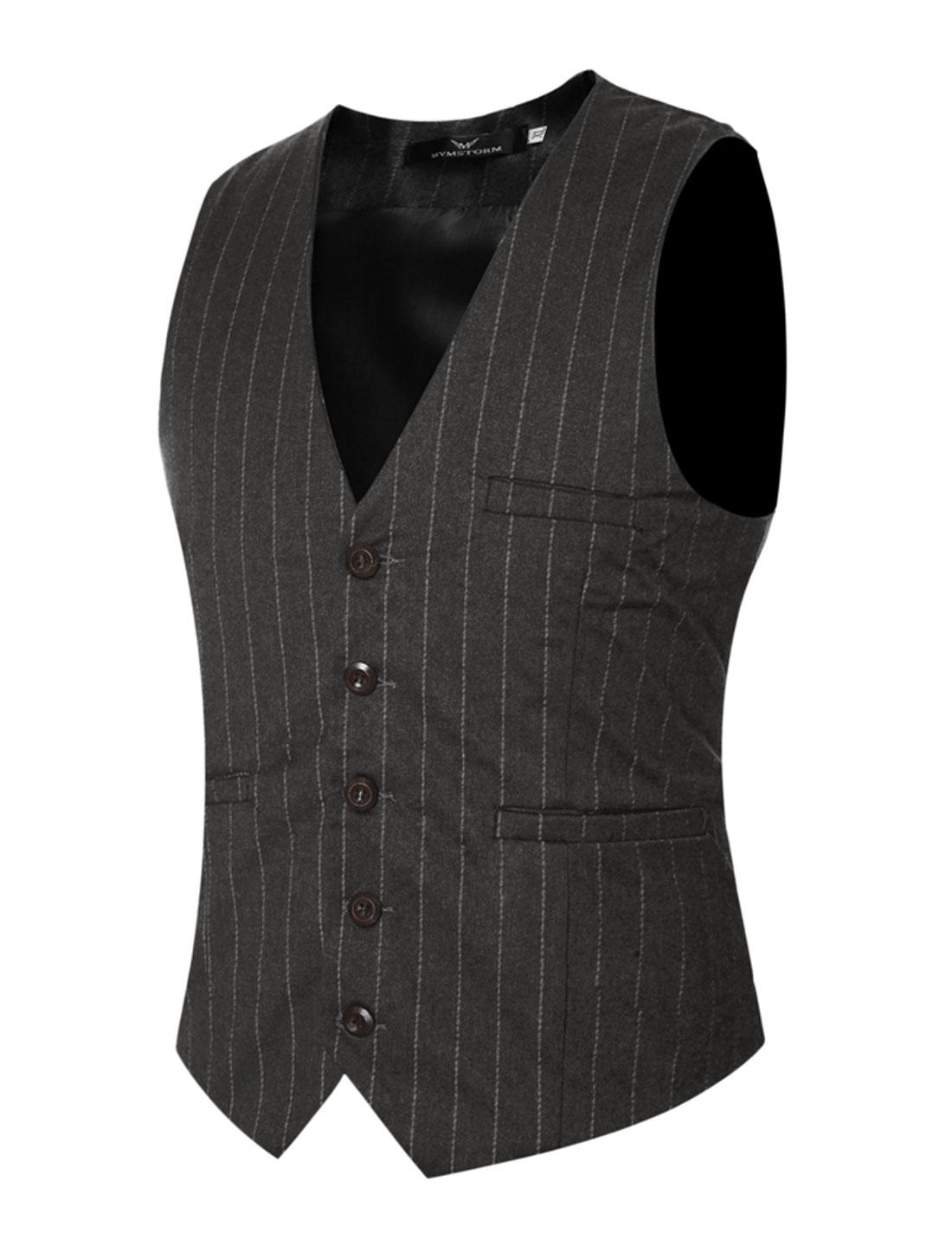 Men Adjustable Self Tie Slim Fit V Neck Button Up Striped Waistcoat Gray S