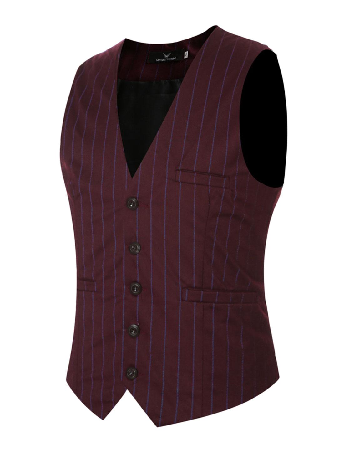 Men Adjustable Self Tie Slim Fit V Neck Button Up Striped Waistcoat Red S