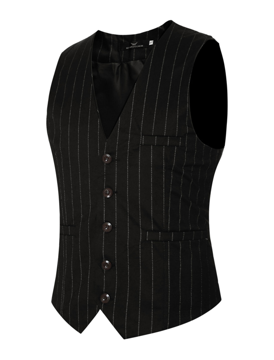 Men Adjustable Self Tie Slim Fit V Neck Button Up Striped Waistcoat Black M