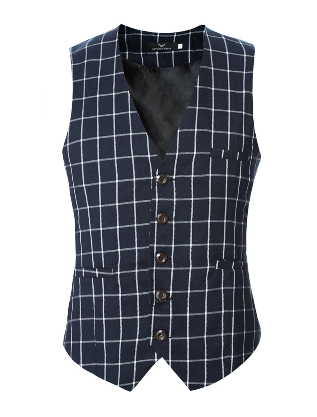 Men V Neck Checks Adjustable Buckle Back Slim Fit Vest Navy Blue S