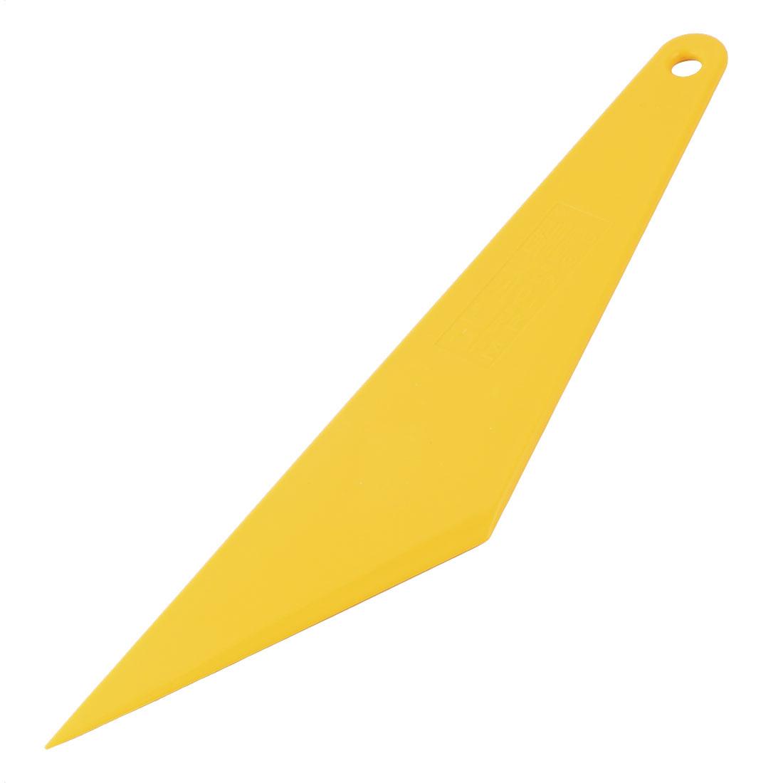Auto Window Film Sheet Wrap Tint Triangle Cleaning Scraper Yellow 28.5 x 6.2 x 0.5cm