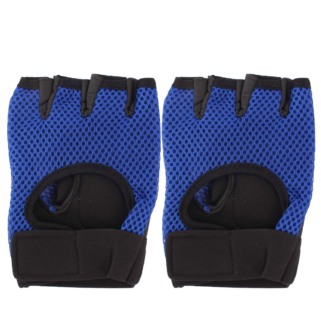 Motorcycle Outdoor Sports Mesh Fingerless Gloves Hand Brace Protector Blue Pair