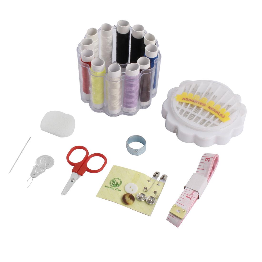 Plastic Box Measuring Tape Needle Thread Scissors Thimble Sewing Tool Kit White