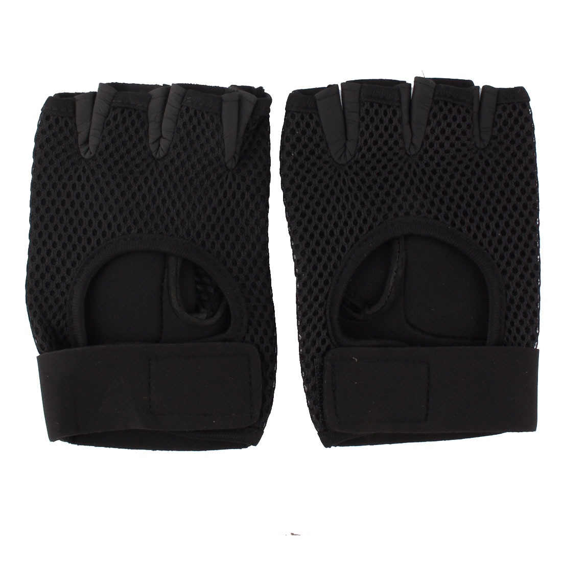 Outdoor Sports Cycling Mesh Half Finger Gloves Hand Protector Black Pair