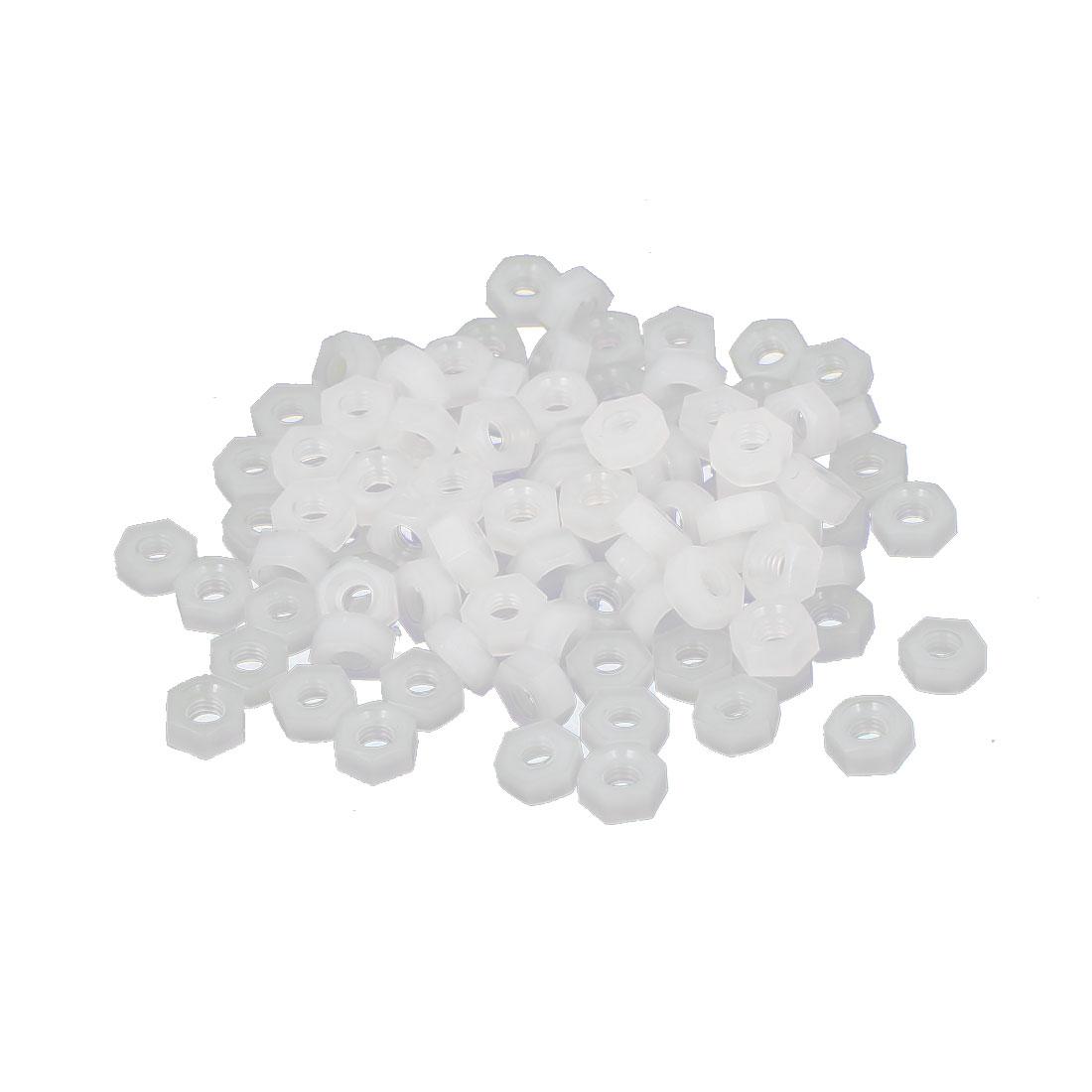 M2 Female Thread Nylon Hexagon Hex Nut Fastener Off-White 100PCS