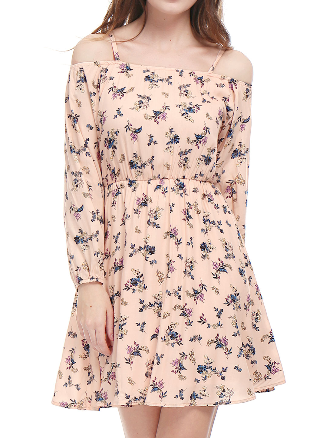 Women Cold Shoulder Long Sleeves Floral Prints Bardot Dress Pink L