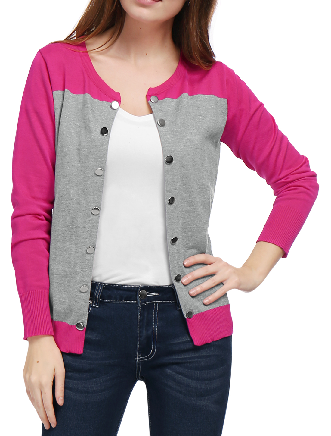Women Color Block Buttons Decor Open Front Knit Cardigan Pink S