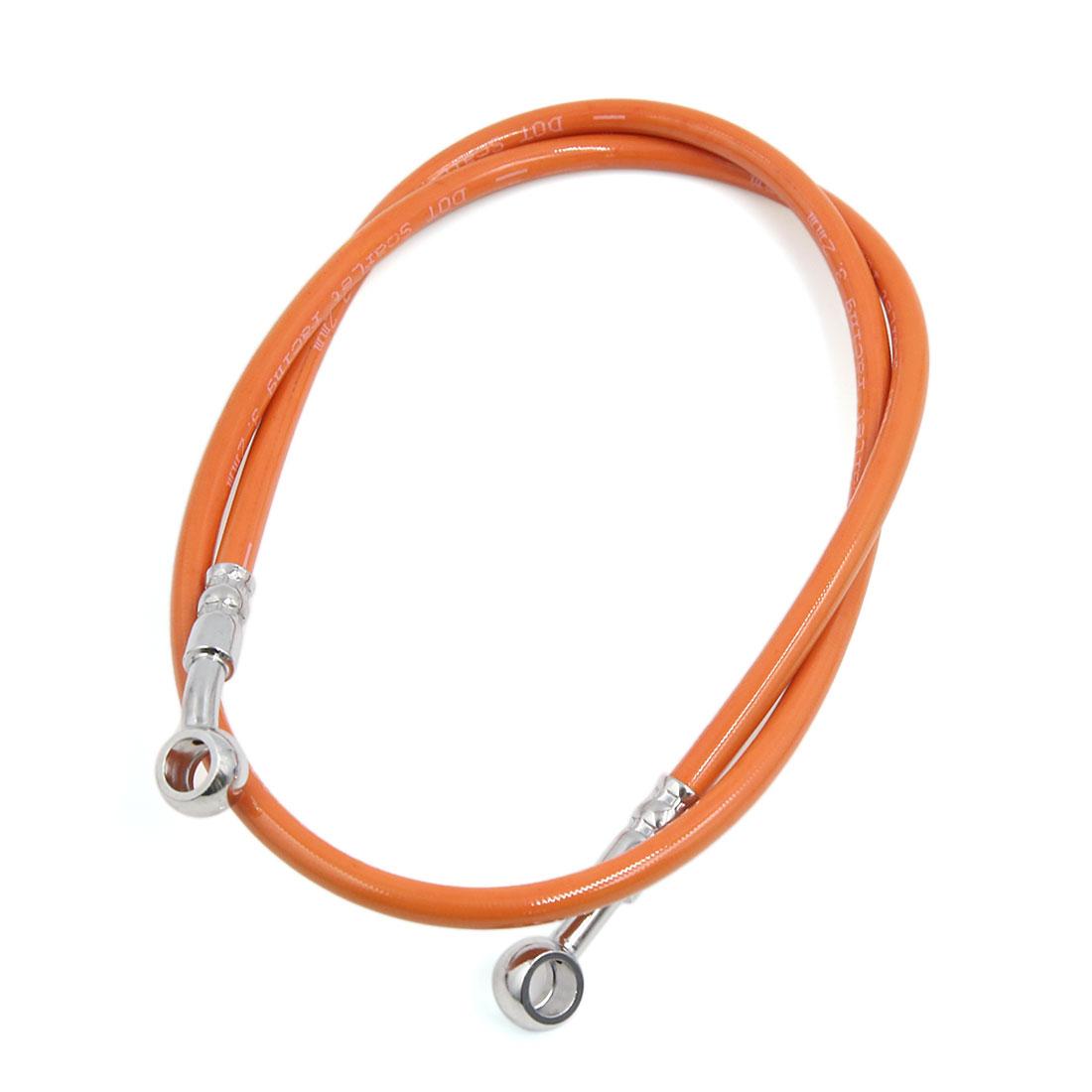Universal 100cm Orange Stainless Steel Rubber Brake Oil Hose Line for Motorcycle