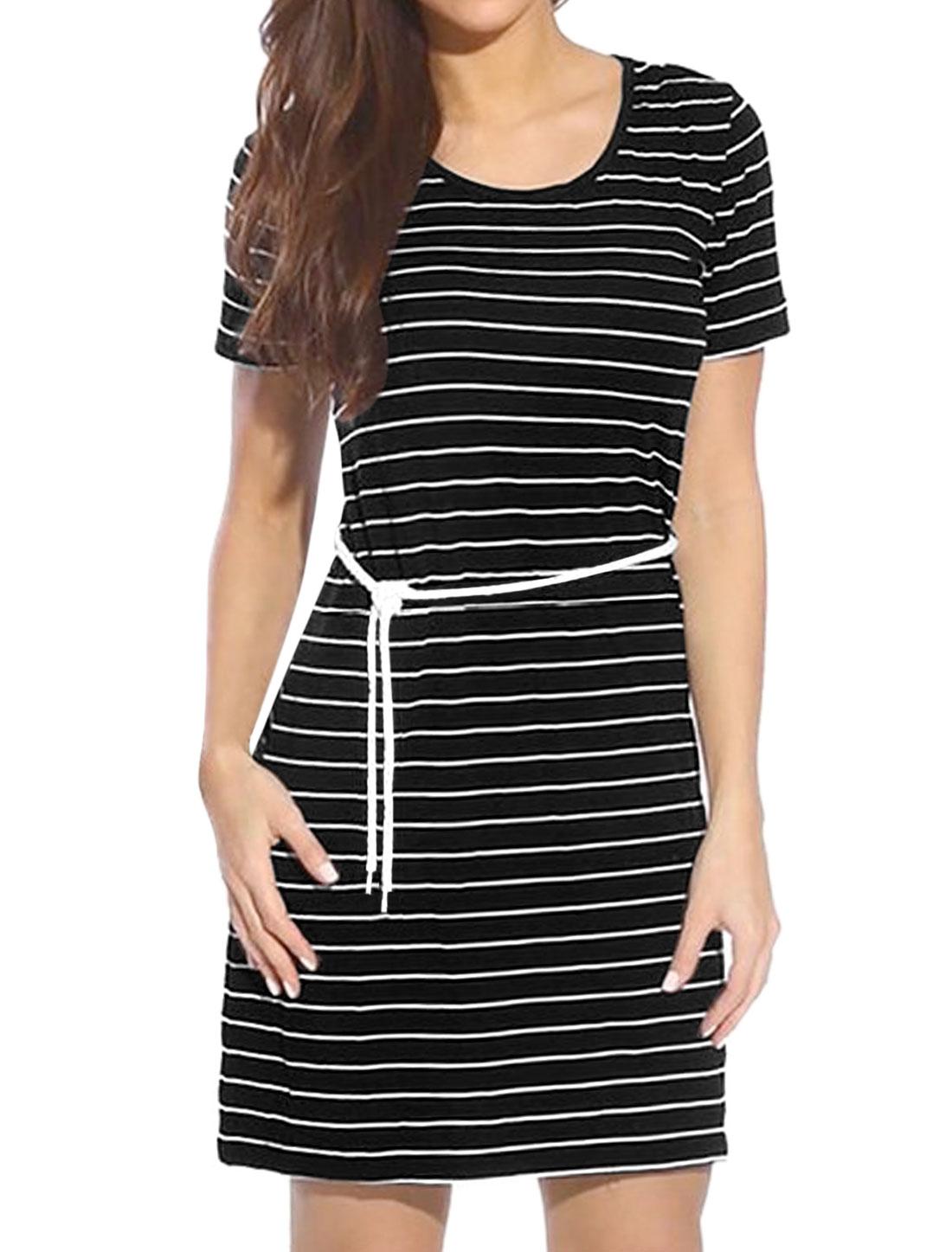 Women Scoop Neck Striped Short-Sleeved T-Shirt Dress w Waist String Black M