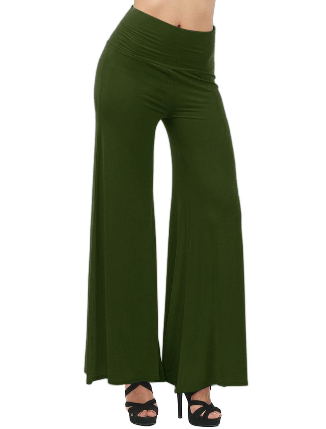 Women High Waist Full Length Stretchy Wide Legs Pants Dark Green XL