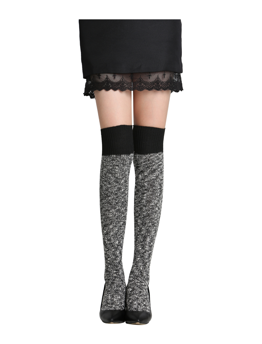 Women 1 Pack Rib Pattern Contrast Color Knit Stockings Black
