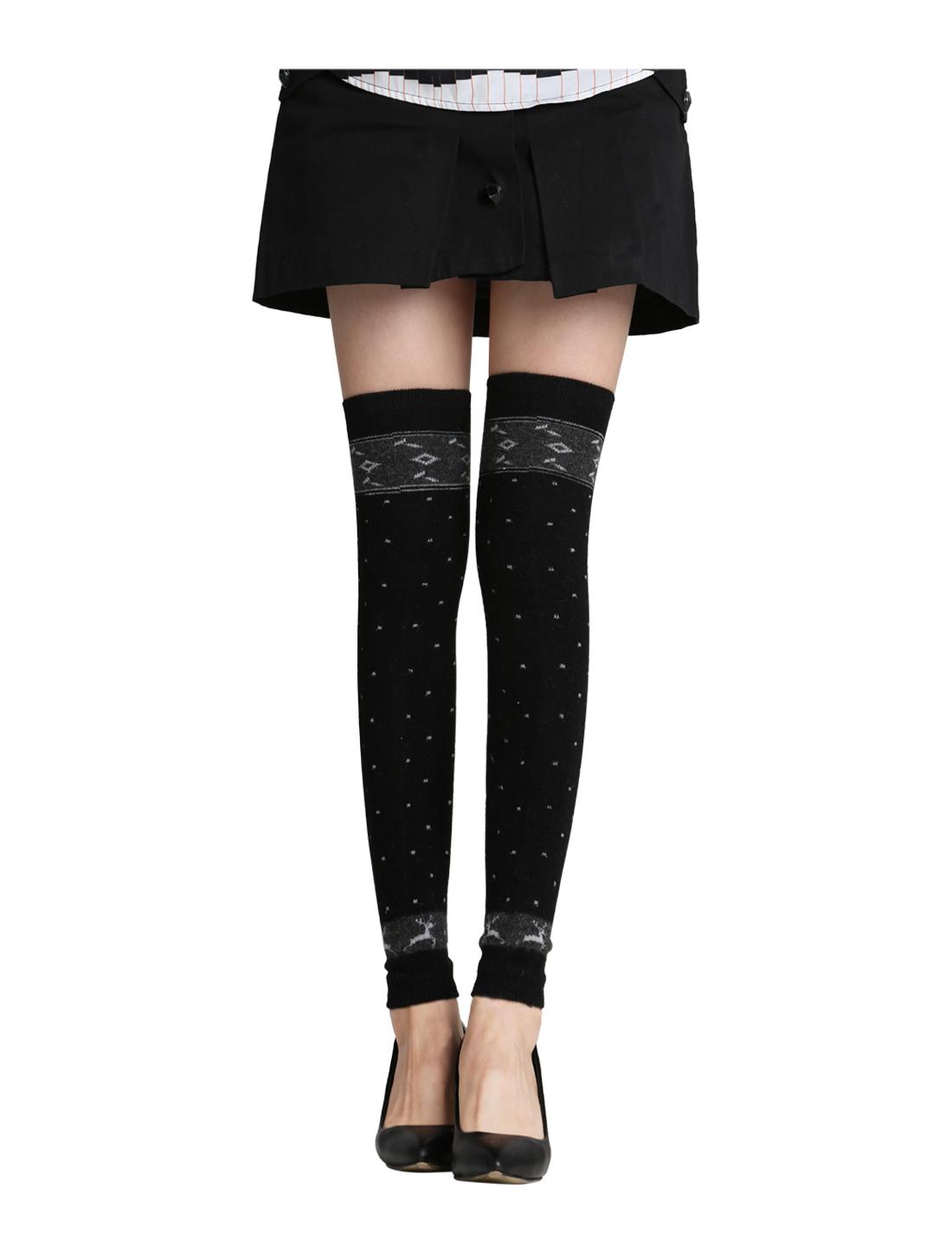 Women 1 Pack Stripes Dots Novelty Pattern Knee High Leg Warmers Black